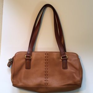 Fossil Tan/Brown Genuine Leather Shoulder Bag